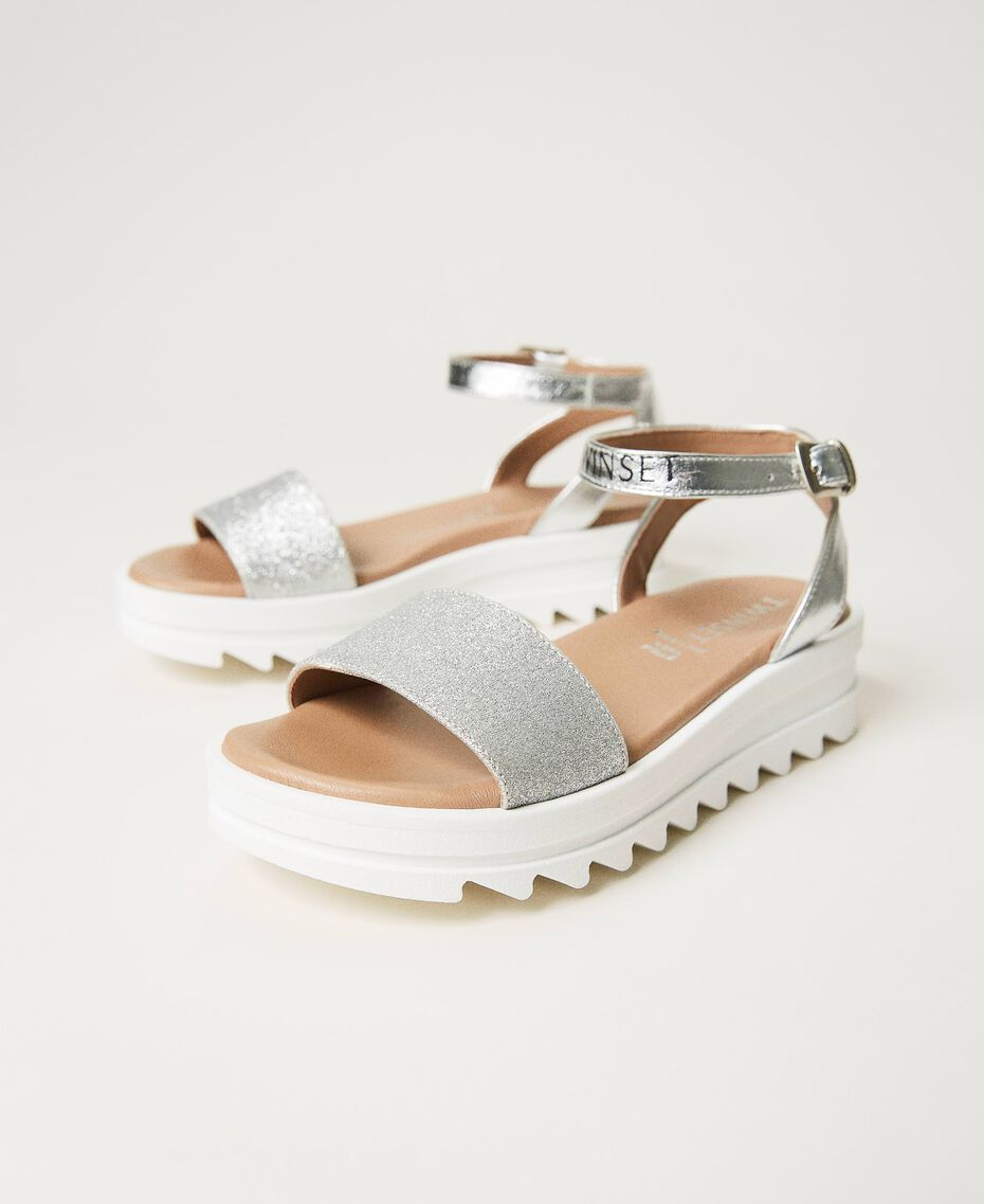 Laminated leather sandals with glitter Laminated Silver Grey Child 211GCJ100-01
