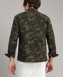 Baumwoll-Hemd mit Camouflage-Aufdruck Motiv Dunkel Camouflage Mann 191UT2020-04