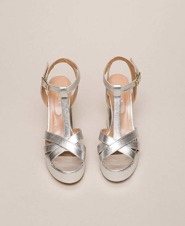 Laminated leather T-bar sandals Laminated Silver Grey Woman 201TCP074-05