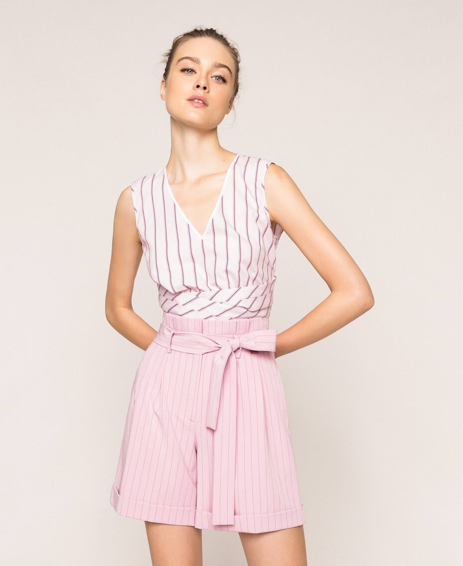 "Pin stripe shorts with belt ""Candy"" Pink Pin Stripe Jacquard Woman 201ST2082-01"