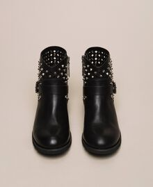 Biker boots with rhinestones and logo Black Woman 201MCP040-05