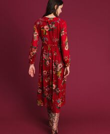 Georgette long dress with floral print Pomegranate Meadow Print Woman 192TP2753-03