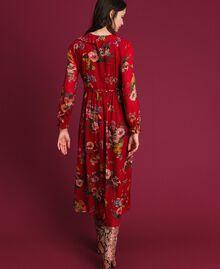 Vestido largo de georgette con estampado floral Estampado Flores de Campo Granada Mujer 192TP2753-03