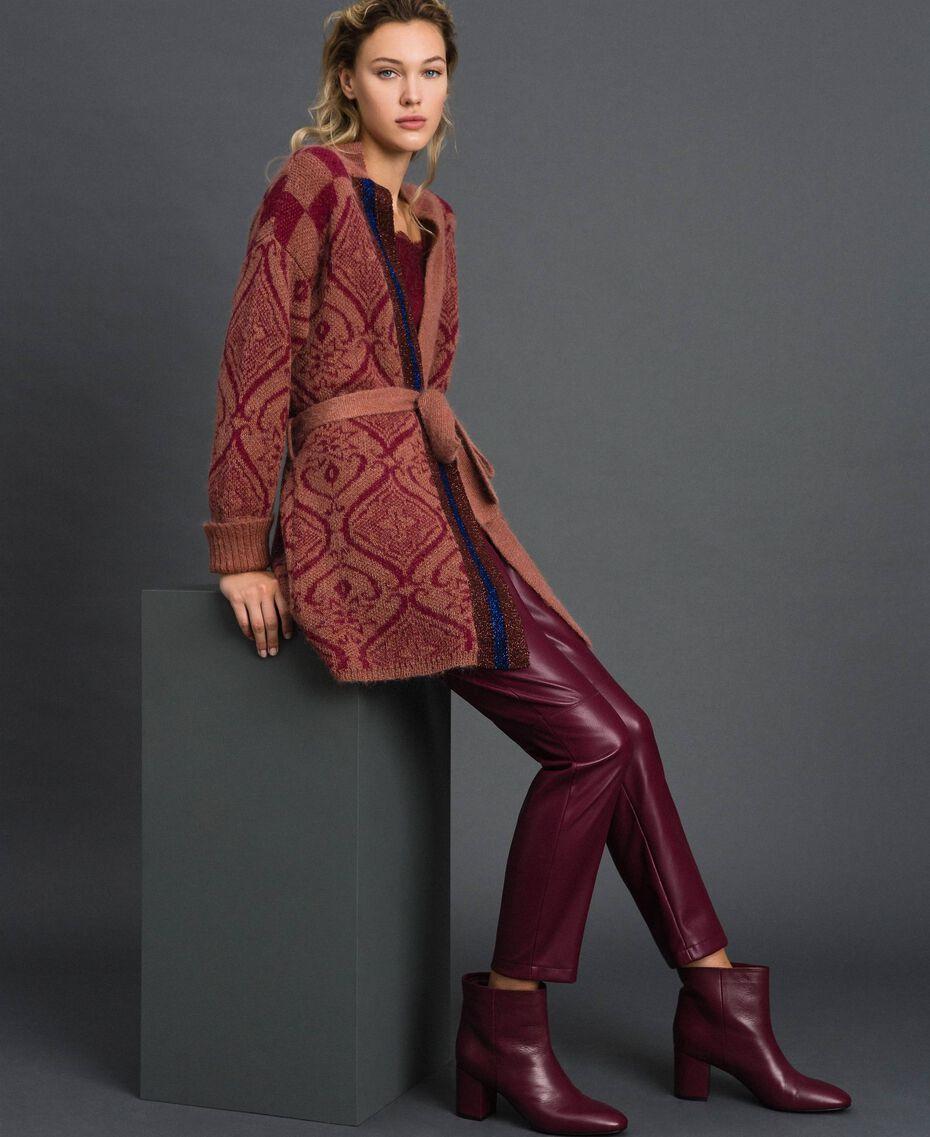 Maxi-Jacquardcardigan aus Wolle und Mohair Jacquard Sequoia-Beige / Rote Erde Frau 192ST3130-02