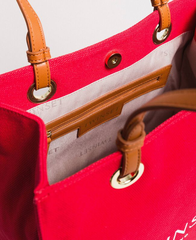 """Medium canvas shopping bag with logo """"Lipstick Red"""" Woman 191TO8200-04"""