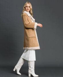 "Faux shearling reversible coat ""Vanilla"" White / Creme Caramel Woman 192MT2020-03"