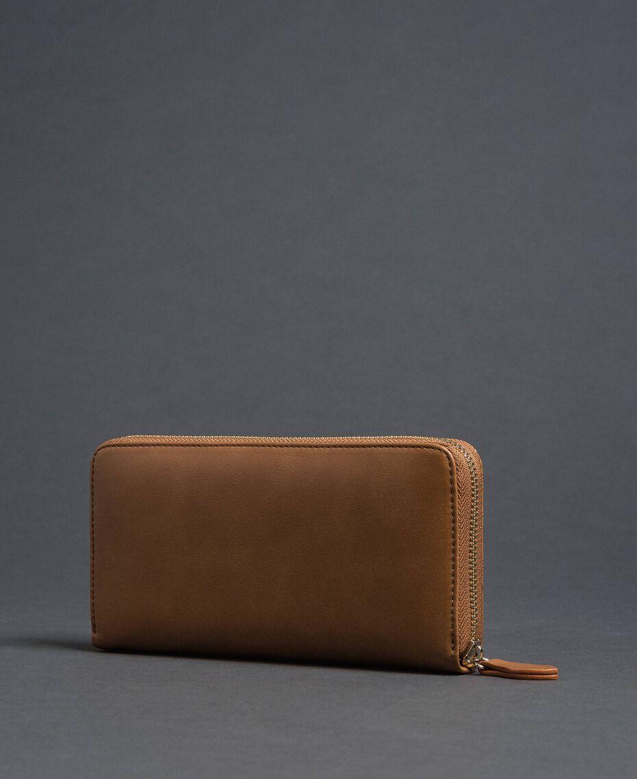 Heart print faux leather wallet Irish Cream Hazelnut Woman 192MA7015-02