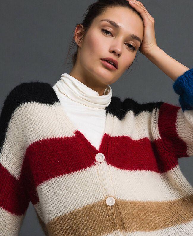 Maxi cardigan avec rayures multicolores Blanc Vanille Femme 192MP3220-04