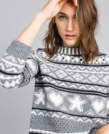 Three-colour jacquard jumper with studs Bicolour Grey Melange / Mother-of-pearl White Woman JA83EB-01