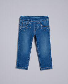 """Jeans aus Denim mit Strass Mittleres """"Denimblau"""" Kind FA82VN-01"""