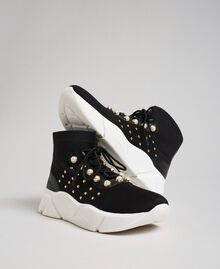 Knit running shoes with pearls and studs Black Woman 192TCP062-01