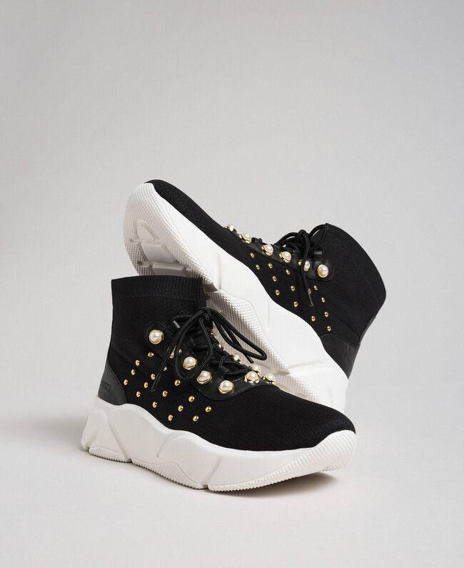 Scarpe running in maglia con perle e borchie Nero Donna 192TCP062-01