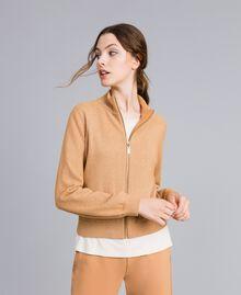 """Lurex yarn cardigan """"Amber Dust"""" Brown Woman IA82HH-02"""