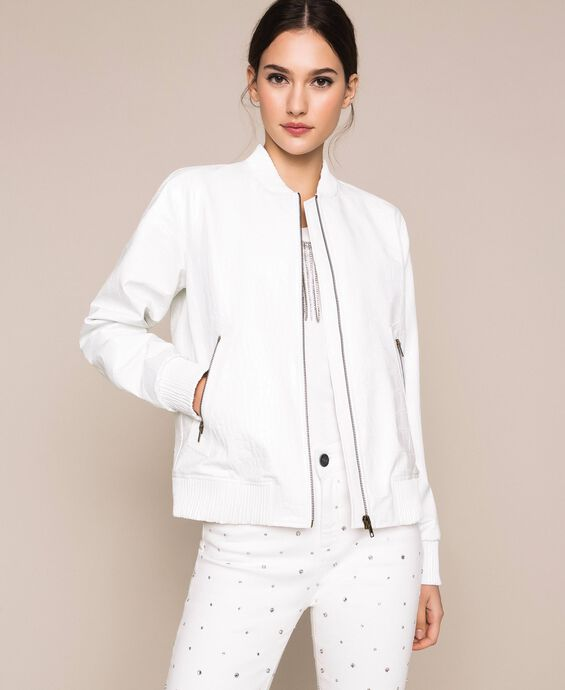 Crocodile print faux leather bomber jacket