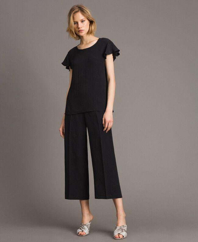 Jacquard butterfly trousers Black Woman 191TT2140-01