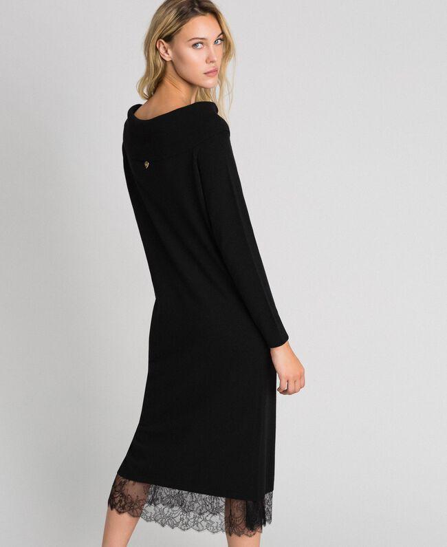Robe en cachemire mélangé avec fonde robe en dentelle Noir Femme 192TT3091-03