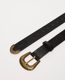 Leather belt with Texas buckle Ivory Woman 201TA4344-02