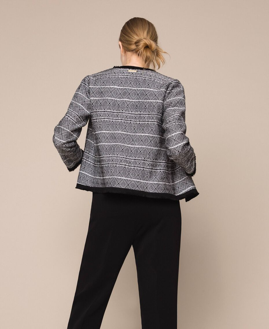 Tweed jacket with embroidery Black Woman 201LB23AA-03