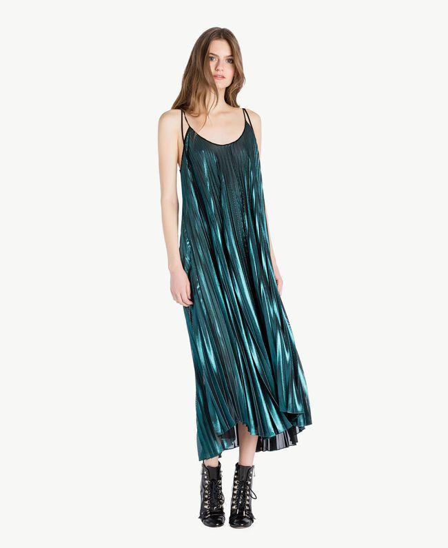 Langes Kleid mit Plissee Metallic-Türkis Frau PS82QP-04