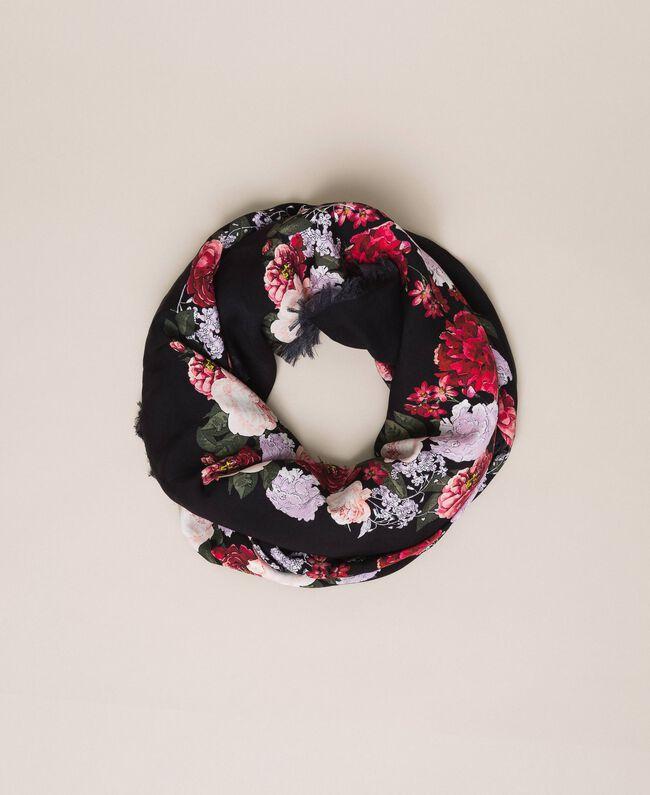 Keffieh avec imprimé floral Imprimé Fleurs Multicolore Noir Femme 201TA4367-01