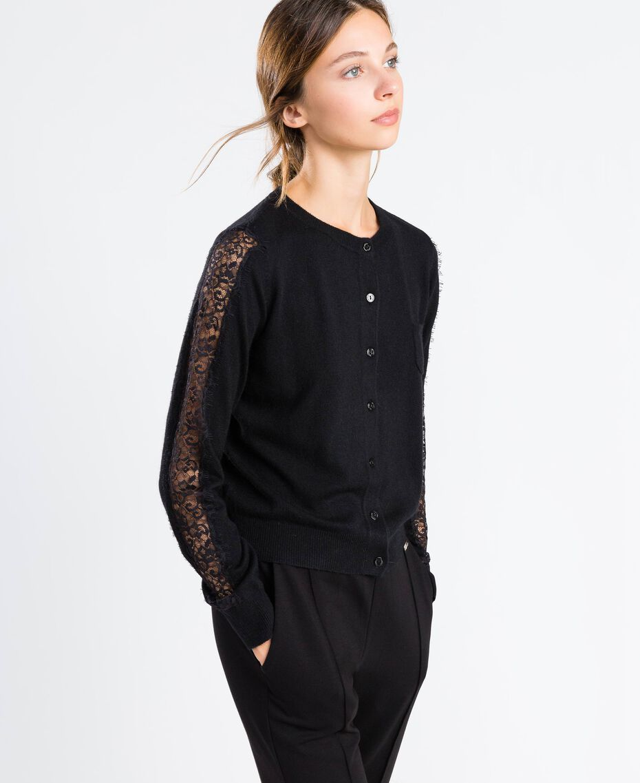Viscose blend cardigan with lace Black Woman LA8QBB-02