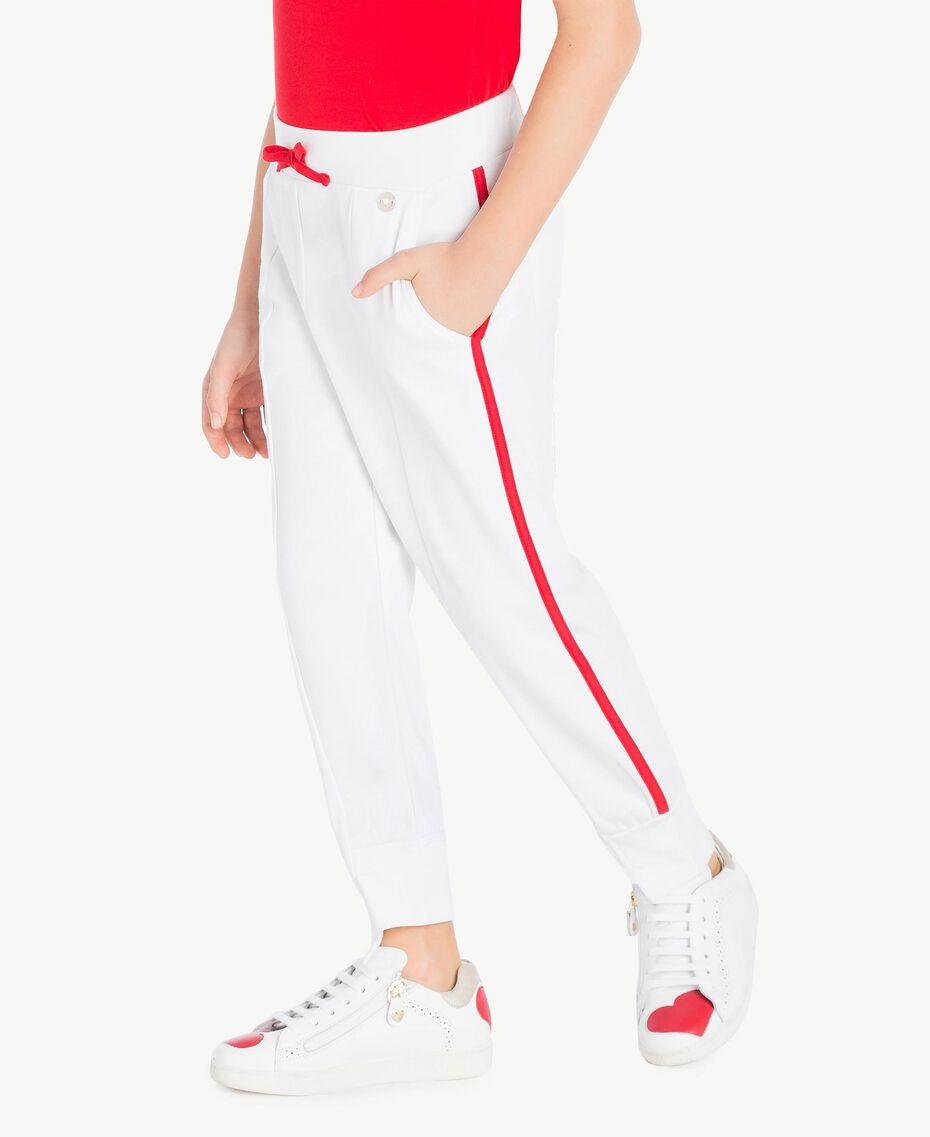 Pantalon de jogging Bicolore Blanc Papyrus / Rouge Grenadier Enfant GS82KC-03