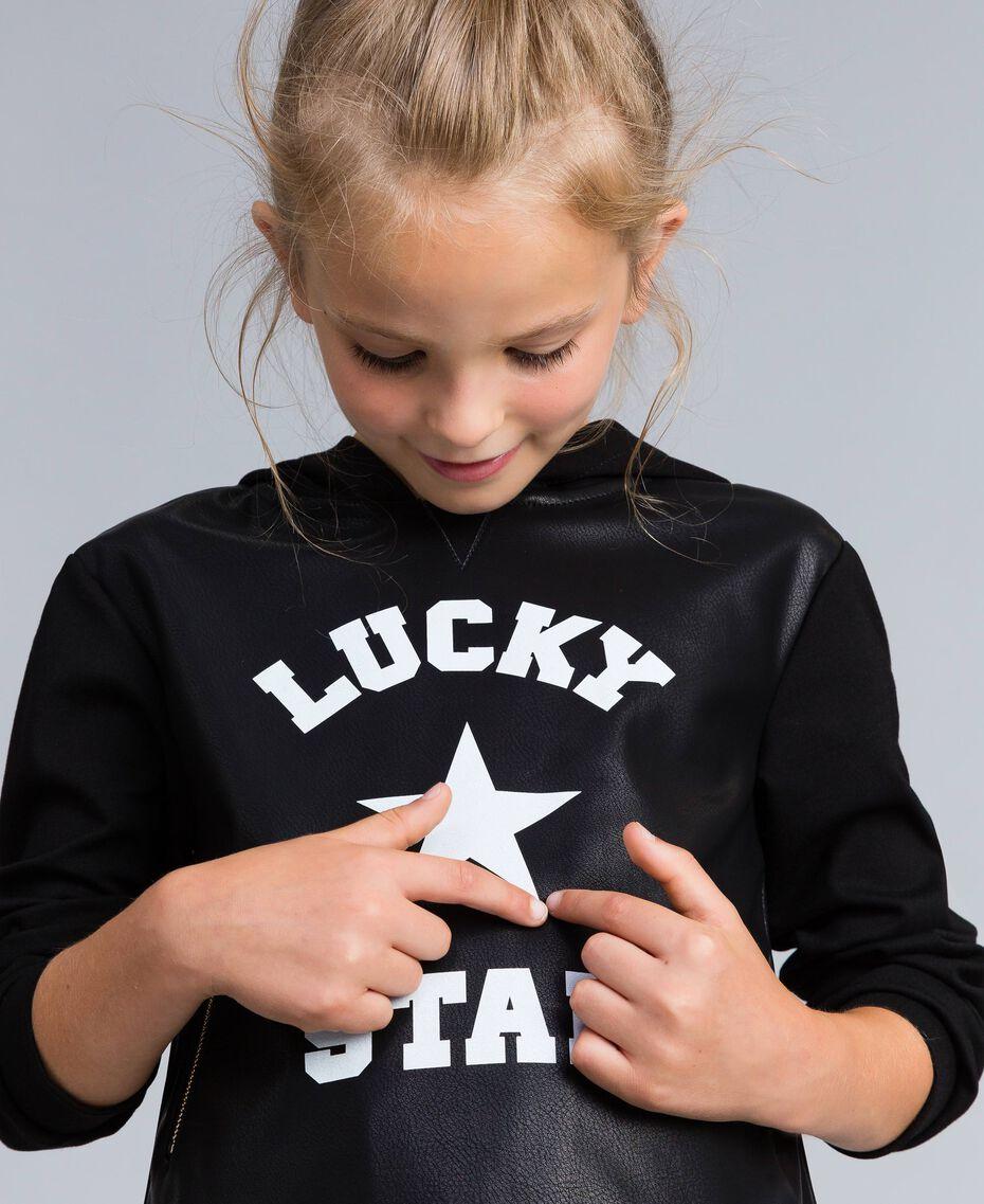 Sweatshirt aus Lederimitat und Interlock-Jersey Schwarz Kind GA82LV-0S