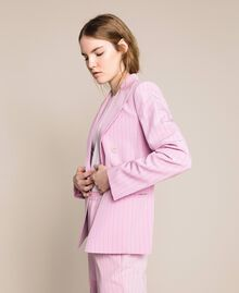 "Double breasted pin stripe blazer ""Candy"" Pink Pin Stripe Jacquard Woman 201ST2080-04"