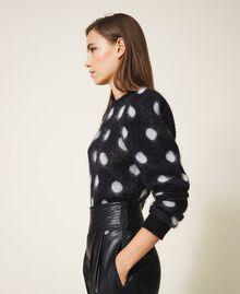Polka dot jacquard jumper Two-tone Black / Snow White Jacquard Woman 202TT3221-02