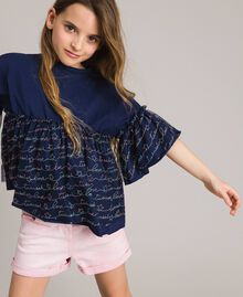 Jersey and tulle embroidered blouse with logo Indigo Child 191GJ2441-0S