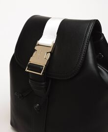 "Faux leather backpack with tuck closure Bicolour Black / ""Ice"" White Woman 201MO8071-03"