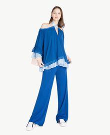Pantalon palazzo Jacquard Lurex Bleu Marine «Pivoine» Femme SS83EE-05
