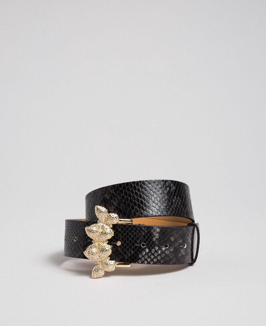 "Python print leather belt, regular ""Anthracite"" Grey Python Print Woman 192TA4308-01"