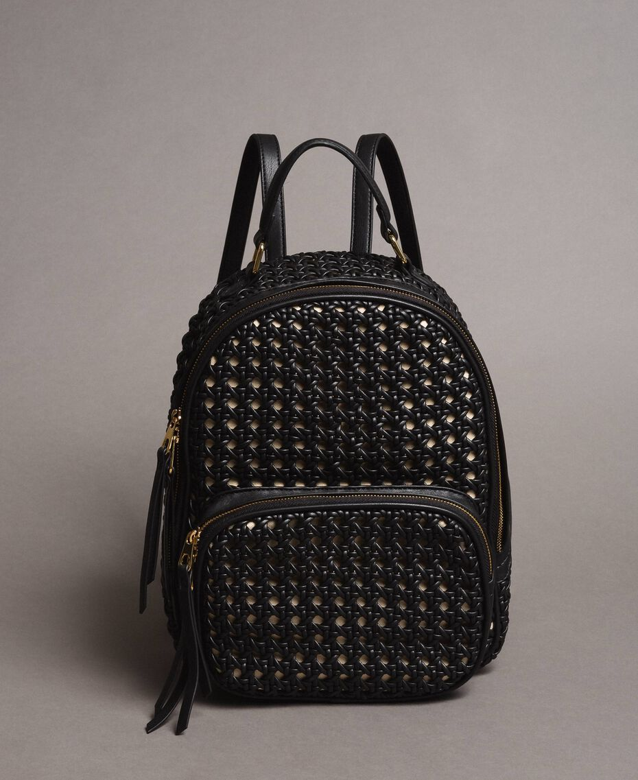 Braided faux leather backpack Black Woman 191TO8010-02
