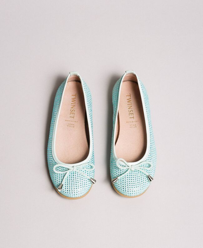 """Leather ballerina shoes with rhinestones Blue Clear """"Water"""" Child 191GCJ072-04"""