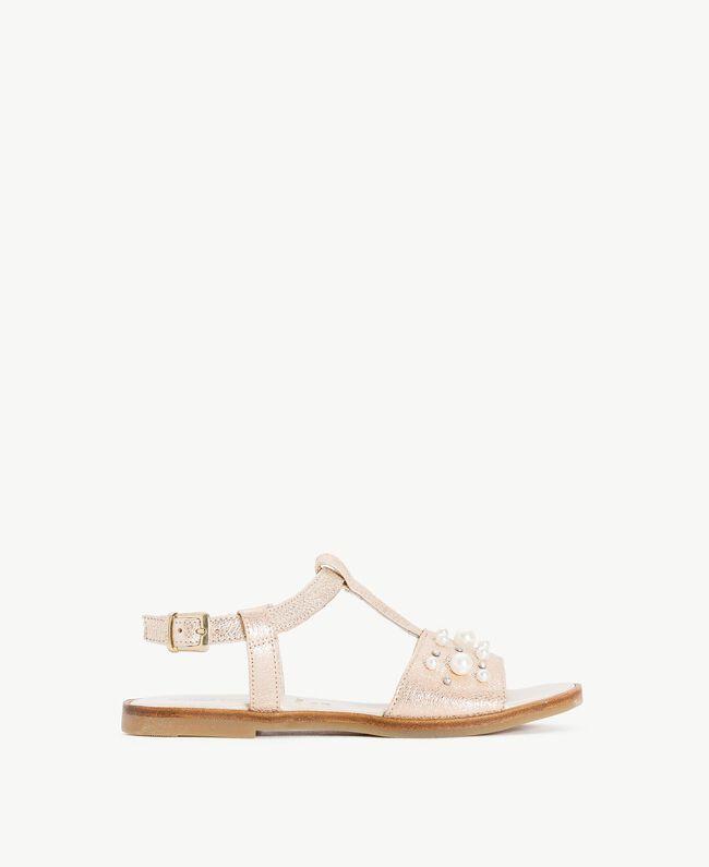 Sandale mit Perlen Platin Kind HS88EQ-01