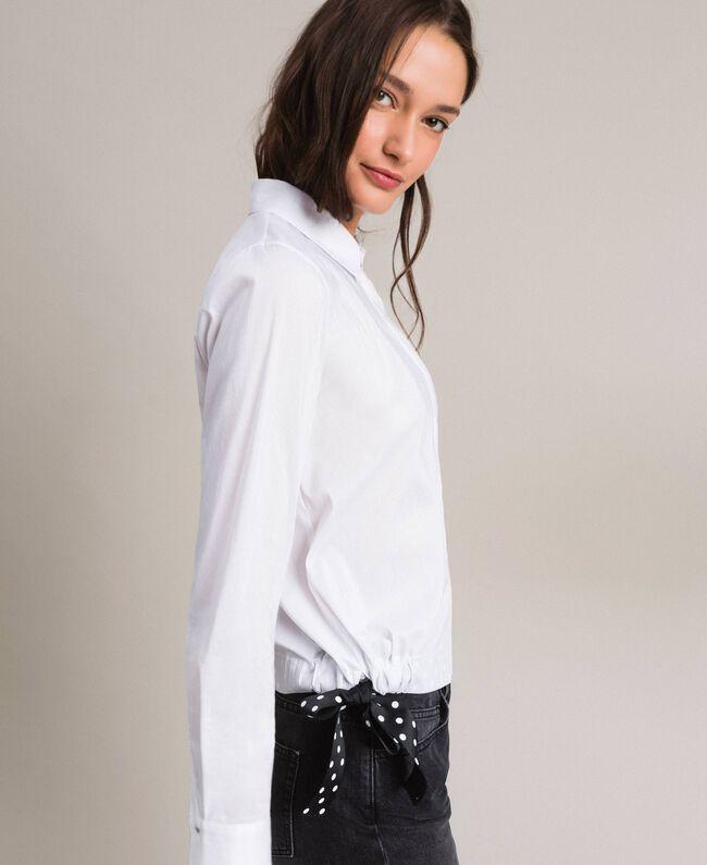 Popeline-Hemd mit Kordelzug White Sahne Frau 191MP2190-03