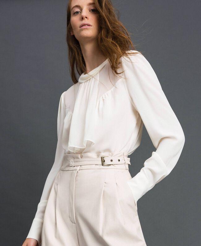 Blouse en crêpe de Chine et georgette Blanc Neige Femme 192TT2430-04