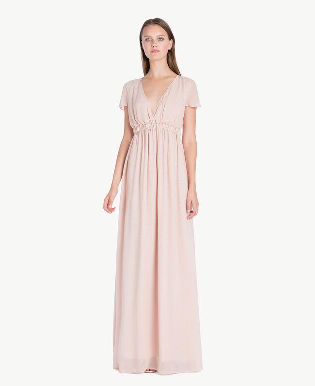 Langes Kleid mit Strassbesatz Nudebeige QA7PAB-01