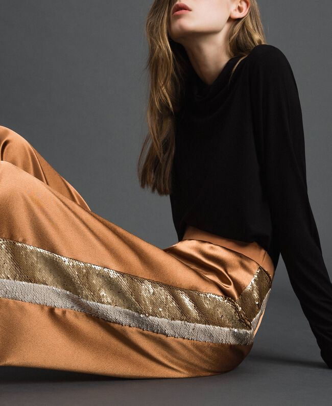 """Satin palazzo trousers with sequins """"Camel Skin"""" Beige Woman 192LI2RBB-01"""