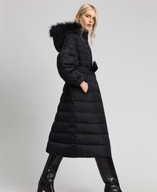 Long quilted padded jacket with real down Black Woman 192TT2173-03
