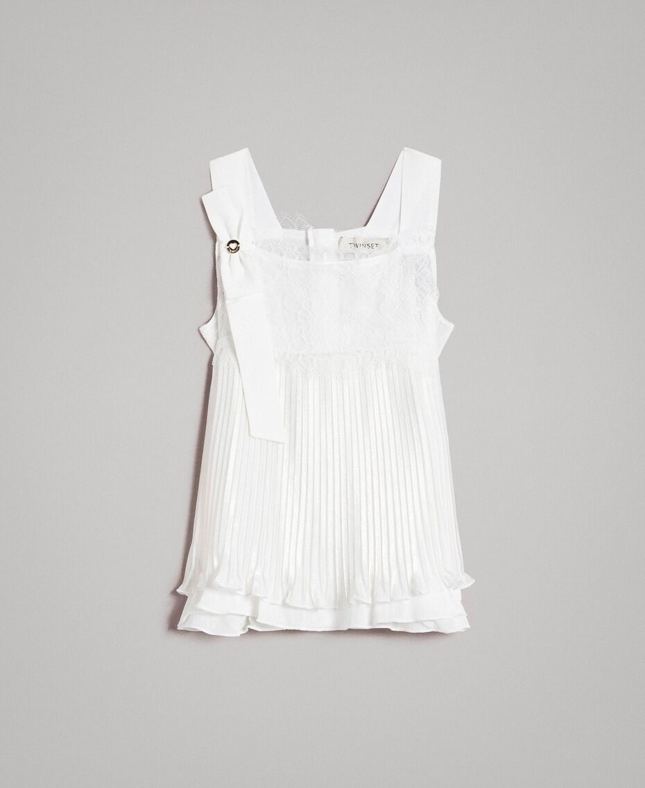 Pleated georgette top with lace Off White Child 191GJ2QA0-01