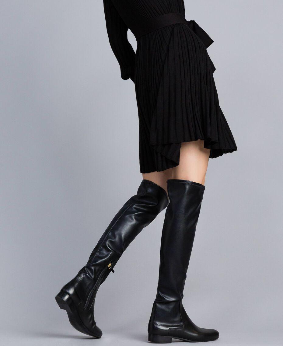 Overkneestiefel aus Stretchgewebe Schwarz Frau CA8PMS-0S
