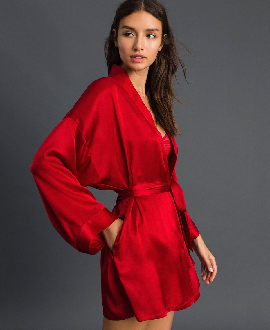 Satin gown with belt Burning Red Woman 192LL2MAA-02