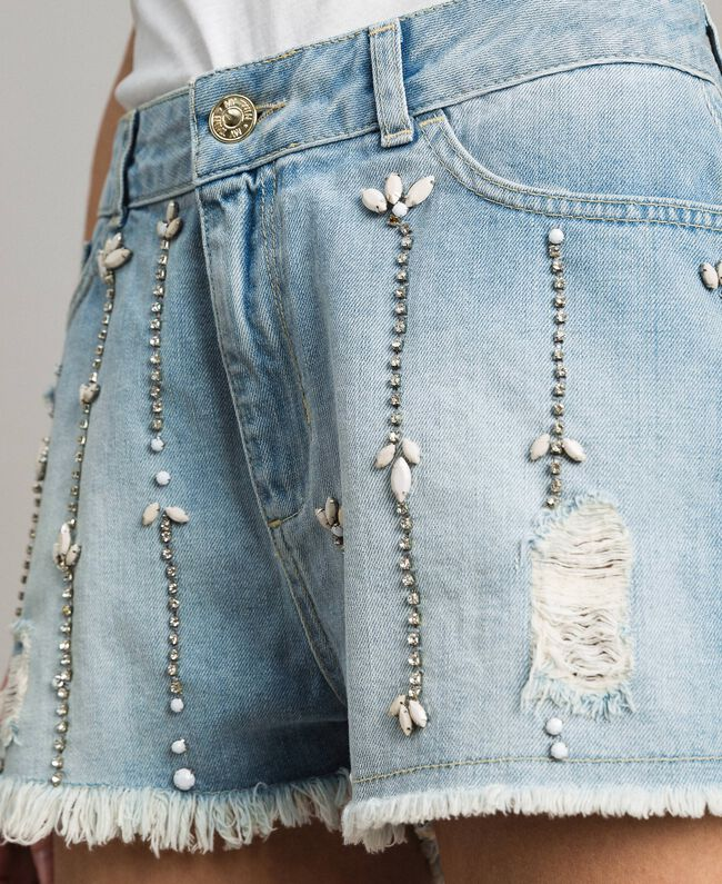 Destroyed jeans shorts with rhinestones and stones Denim Blue Woman 191MT2181-04