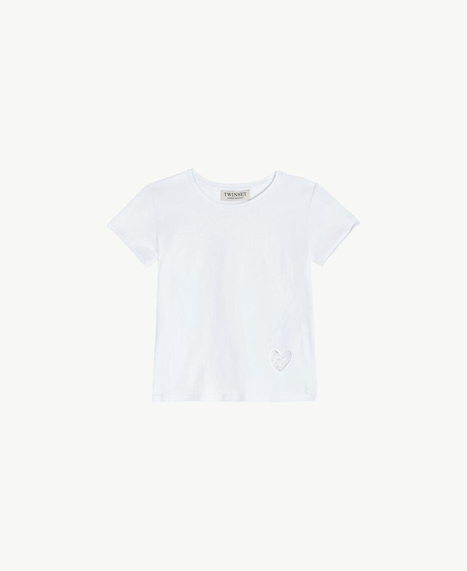 "Cotton T-shirt ""Papers"" White Child FS82BA-01"