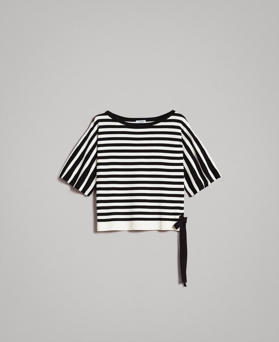 Striped top with bow Black / Ecru Striping Woman 191ST3020-0S