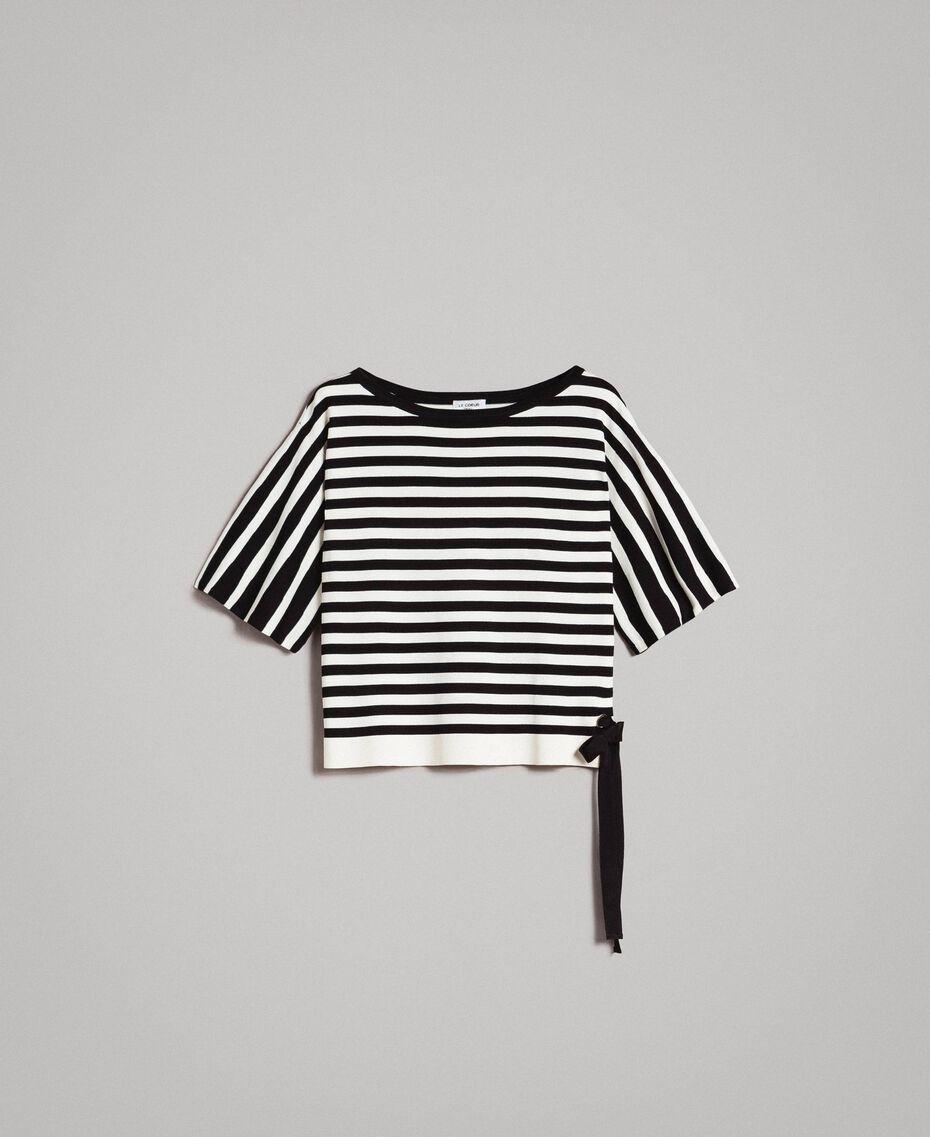 Pull rayé avec nœud Rayures Écru / Noir Femme 191ST3020-0S