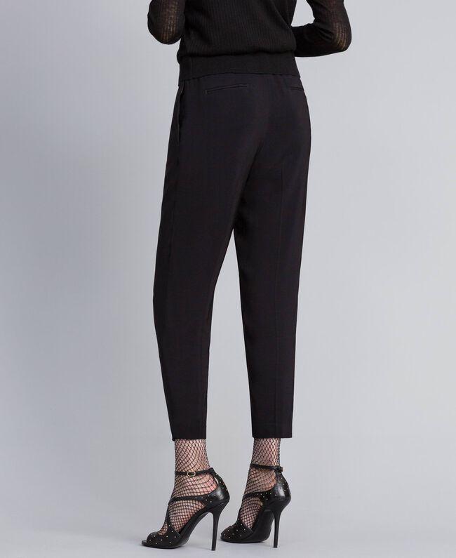 Pantalon de jogging en crêpe georgette Noir Femme PA82HK-03