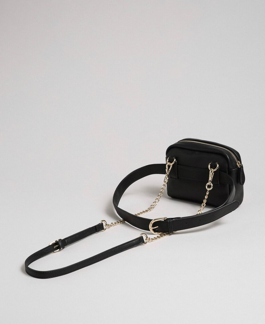 Faux leather belt bag with quilted hearts Black Woman 192MA7084-02